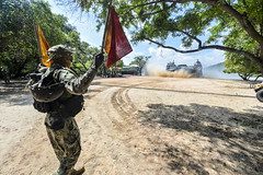 Sailor directs a landing craft air cushion onto the beach during a theater security cooperation exchange with the Sri Lankan military.
