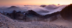 Waves Of Fog (fotoRschaffer) Tags: basellandschaft earlymorning fog landscape nature outdoorphotography sunrise switzerland daybreak chilchzimmersattel oberblchen hills meadows wavesoffog forest trees jura flowing panoramicview winter fotorschaffer alainschaffer schweiz suisse svizzera frhmorgens nebel nebelwellen natur landschaft sonnenaufgang tagesanbruch dawn dmmerung hgel wiesen wald bume panorama view aussicht fliessend belchenregion baselbiet mist cold kalt morgenstimmung