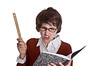 Geeky Teacher (Pissapro) Tags: teacher mad angry ugly isolated straightlaced stern bold shorthair woman caucasian ruler book compositionbook tough glasses unhappy discipline threatening frowning holding pointing mean grumpy negative attitude strict whitebackground humorous shocked offended reading