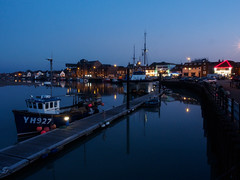 Wells-next-the-Sea by night (antsdav) Tags: wells norfolk quay fishing night reflections pontoon boats