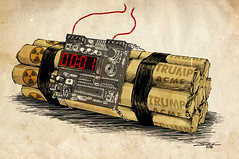 Election Night in an Alternate Universe (The Searcher) Tags: alarm clock derek chatwood poprelics art illustration sketch drawing ink painting color election president elect donald trump sexist racist sexual predator xenophobic homophobic dunce bomb countdown wire cut fail boom