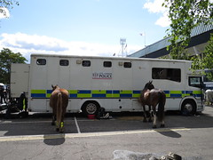 LY05KNE Scania Horsebox of City of London Police (Ian Press Photography) Tags: ipswich town football club portman road suffolk norwiich city fc 999 police emergency service services match old farm derby championship norfolk ly05kne scania horsebox london horses mounted horse box colp