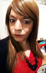 Cremisi (Steph Angel) Tags: stephangel steph transvestite tranny trans girl feminine female femme makeup lipstick mascara red reddress crossdress