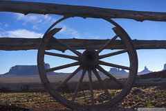 Old Wagon Wheel (EVERY SO OFTEN) Tags: old wagon wheel wood ranch fence monumentvalley colorado usa landscape desert rock formations historic texture prarie sky depth us american west western silhouette concept navajo homeland tribal park ngc