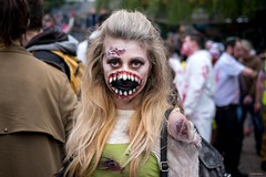 She's all mouth (Silver Machine) Tags: bristol bristolzombiewalk2016 zombie girl streetphotography street streetportrait teeth mouth blonde standing streetparade fujifilm fujifilmxt10 fujinonxf35mmf2rwr