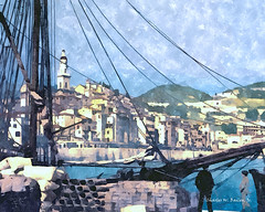 Digital Watercolor Painting of a Sailing Ship in Menton Harbor by Charles W. Bailey, Jr. (Charles W. Bailey, Jr., Digital Artist) Tags: ship sailingship harbor menton mentan mentone alpesmaritimes provencealpescotedazur france europe photoshop photomanipulation topaz topazlabs topazdejpeg topazdenoise automagiccreativearteffectsgen2 topazimpression topazrestyle topazlenseffects topazclean nikcolorefexpro4 flypapertextures topazclarity topazdetail alienskin alienskinsoftware alienskinexposure watercolor watercolorpainting painting art fineart visualarts digitalart artist digitalartist charleswbaileyjr