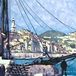 Digital Watercolor Painting of a Sailing Ship in Menton Harbor by Charles W. Bailey, Jr. thumbnail