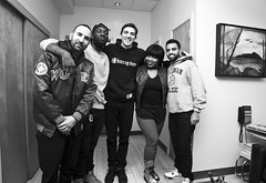 Shoutout to the Homie Spliff for getting ME in rare form (posing with Guests) (Brother Christopher) Tags: monochrome monochromatic blackandwhite canon portrait show podcast nyc comedy comedians mtv mtv2 fun laughs mic studio race trump twitter stereotypes explore explored exploration indoor indoors akaashsingh andrewschulz brilliantidiots radio entertainment debate team
