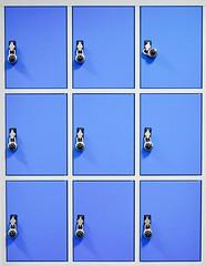 What is inside? (mrburton75) Tags: kopie mehrfach multi duplikate duplikat reduziert reduce minimal abstract abstrakt kunst art secret geheim deposit depots depot tresor quadrat rechteck winkel schloss privat private inside blau blue locker lockers padlock vorhngeschloss school schule box schliesfcher