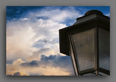 DIMENSINS. (manxelalvarez) Tags: dimensiones nubes cielos luces aviones farolas solpor sunset