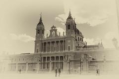 Catedral De La Almudena - Madrid BW (rschnaible) Tags: madrid spain espana cathedral church catedral de la almudena building architecture old history historic bw black white photography monotone sepia