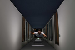 337/366 - Principles of Levitation pt. 15: Escape to the weekend... (Sinuhé Bravo Photography) Tags: canon eos7d gimp potd2016 ayearinphotos manipulation levitation fallingdown flying forcedperspective indoor