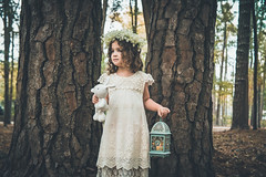 Fairytale (haddartist) Tags: amphotography portrait photosession photoshoot girl child flower crown dress lantern bunny toy fairy tale cute trees forest nature natural afternoon light naturallight virginiabeach virginia