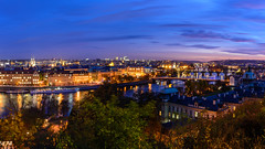 Evening panorama of the bridge in Prague (Stanislav Zakurdaev) Tags: charlesbridge czechrepublic europe prague praguecastle stanislavzakurdaev vltava autumn beautiful beautifulview blue bluelandscapesky greysky historical holiday landscape oldchurch oldtown panorama river riverview sky tonight travel trip photostascom