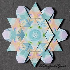 Iimori Flower E or Snowflake (Day 49) (Yureiko) Tags: yureiko tessellation papierfalten papier origami paperfolding paper