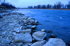 The blue Bow River. (GWP_Photo) Tags: calgary alberta bow river morning blue nikon d750 nikkor 1870 dx