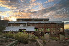 The green beast (No Stone Unturned Photography) Tags: abandoned urbex arizona mining building power plant sunrise superior smelter smokestack photography glass windows buildings magma mine copper industrial