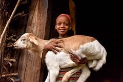 Girl and Goat (Rod Waddington) Tags: africa african afrika afrique ethiopia ethiopian ethnic etiopia ethnicity ethiopie etiopian äthiopien wolayta wollaita tribe traditional tribal village goat girl child outdoor