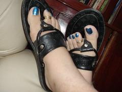 DSCF2100 (sandalman444) Tags: male feet foot long sandals painted mens pedicure toenails toerings