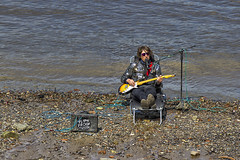 BEACH BUSKER (mark_rutley) Tags: city musician music london rock thames guitar entertainer busker flameproofmoth