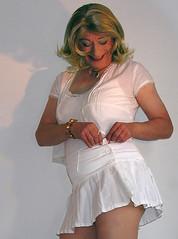 3 big white buttons (gillian .) Tags: white tv lace feminine cd skirt blouse tgirl transgender mature tranny blonde transvestite miniskirt crossdresser ts tg pleats pantihose