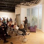 """<b>PhyllisYes_AL_05</b><br/> David Kamm says some opening remarkes at the reception for Phyllis Yes' exhibition in the CFA during homecoming 2013. September 5th 2013.  Photo by Aaron Lurth<a href=""""http://farm6.static.flickr.com/5525/10141211883_41cca608ab_o.jpg"""" title=""""High res"""">∝</a>"""