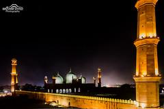 Badshahi Mosque Lahore (Ibrahim.Sayed) Tags: old city roof light architecture night lens photography nikon top low den mosque dome sayed kit 1855 nikkor ibrahim lahore masjid minarets badshahi cuckoos cucoos d5100