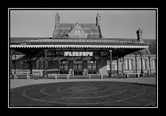 The Platform Morecambe formerly Morecambe Railway Station : Agfapan 100 B&W film : (norbet1) Tags: uk england bw english film monochrome analog photoshop blackwhite nikon angle noiretblanc britain scanner north wide railway scan lancashire adobe predigital british analogue 24mm fe nikkor agfa railways morecambe nikonfe lenses agfaapx100 24mmf28af blackwhitephotos nikkor24mmf28 nikkor24mmf28af 24f28af agfaapx100bwfilm