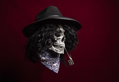 JACKSON (CJs STUDIO) Tags: lighting red portrait black male hat dark hair studio fun skull moody gothic dramatic fantasy unusual striking lowkey pictorial