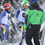 Athletes Dominic Unterberger and Broderick Thompson with JP Daigneault - BC Team coaches on the job at Sun Peaks PHOTO CREDIT: Gordie Bowles