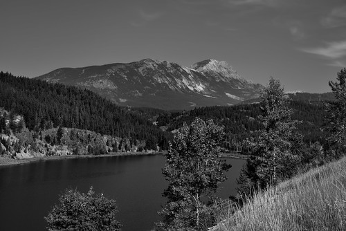 Summit Lake and a View to Mount Washburn (Black & White)