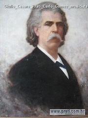 Giulio Cesare Prati Carlo Gomez musicista olio su tela 69x55cm 1896 Collezione privata