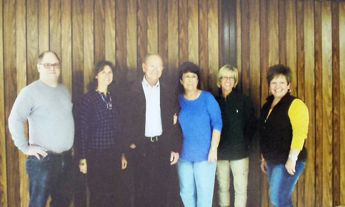 Brenda (Copeland) Crawford (center in blue shirt), daughter of Dewey and Lockie (Marshall) Copeland, with her daughters Dana Brooks (second from right) and Debbie DiCarlo (right).  Also pictured is Brenda's husband, Charles Crawford, and his children Eric