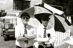 Men from the GRRC... (hethelred) Tags: leica bw men classic sunglasses festival speed 35mm ties arms voigtlander 14 guard hats folded bowler fos nokton goodwood members enclosure m9 officials 2013 grrc