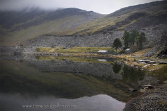 CWMORTHIN LAKE REFLECTIONS, SNOWDONIA, NORTH WALES. (IMAGES OF WALES.... (TIMWOOD)) Tags: park wood uk lake mountains reflection beautiful rain misty wales reflections landscape photography countryside tim ruins mine gallery north cymru lakes reservoir hills national abandonded slate dwr snowdonia quarry