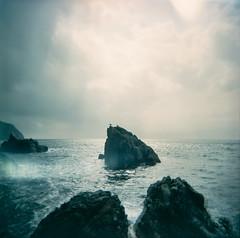 (miemo) Tags: travel sea sky italy seascape 120 6x6 film birds clouds analog mediumformat landscape holga spring rocks europe italia kodak lightleak shore epson cinqueterre analogue 400vc v750 400vc3