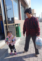 Child and grandmother, Pyongyang, DPRK (Thierry Hoppe) Tags: street station child grandmother pyongyang dprk