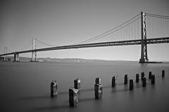 Bay Bridge, San Francisco (LukePricePhotography) Tags: california travel bridge bw usa white black canon bay san francisco filter nd 600d