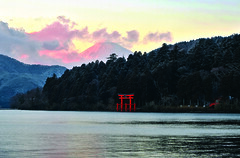 Hakone, Japan (Dren P) Tags: park winter sunset lake japan forest shrine exposure fuji mt national fujifilm hakone hdr ashi  x2 fujihakoneizu