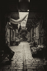 business is slow... (Spyros P.) Tags: leica old city bw israel alley market muslim jerusalem m8 quarter