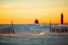 The gateway to the frozen mitten (randyr photography) Tags: winter sunset lake haven cold ice pier frozen michigan grand puremichigan