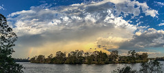 Storm clouds iphone pano (NettyA) Tags: 2016 australia brisbane brisbaneriver indooroopilly qld queensland river buildings city clouds rainbow seqld sky skyline storm thunderstorm au appleiphone6 sunset