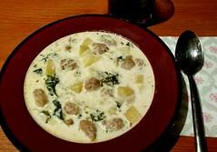 Potato Sausage and Kale Soup (Georgie_grrl) Tags: potatosausageandkalesoup dinner kitchenexperiment yum tasty soup byme nomnomnom hoorayforgoodexperiments didyouknowthathomemadeturkeybrothgellifiesinthefridge idonow
