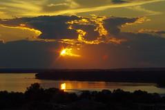sunset over the river (thomas.erskine) Tags: 20160826imgp1457teeunsh 2016 aug summer sun sunset ottawa river lac dechenes clouds