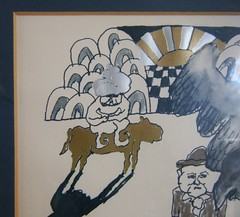 detail (fries in a cone) Tags: 60s 70s pop art illustration drawing gold silver foil horse sun eagle man unsigned chwast glaser