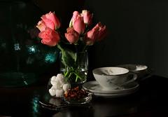 A table by the window (alideniese) Tags: stilllife stilllifephotography blackbackground teacups morningtea light shadow roses pink sugar toastynougattea daylight morninglight