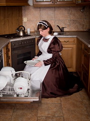 Maid at work (blackietv) Tags: maid dress gown brown white satin petticoat lace apron pinafore tgirl transvestite crossdresser crossdressing kitchen transgender