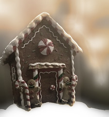 Morning at the Gingerbread House (garlandcannon) Tags: snowyground gingerbreadhouse bokeh christmasgingerbreadhouse candycanes
