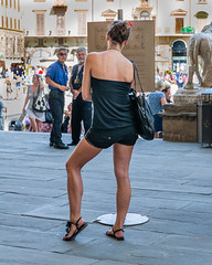 Impatience (Ron Scubadiver's Wild Life) Tags: girl woman candid street style nikon italy outdoor 2875 florence