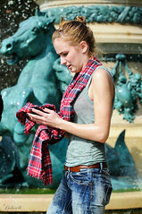 Paris Fountain (ColinB Portraits) Tags: paris fountain wet tartan scarf girl technoparade colinb wetjeans wetshirt water